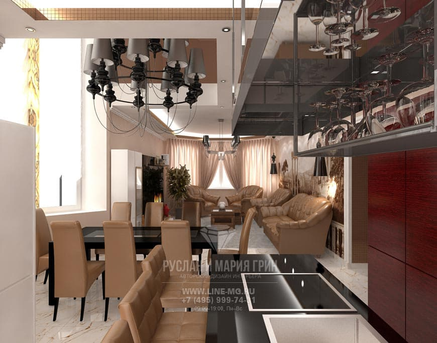 Фото интерьера гостиной с кухней