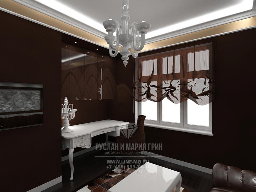 Фото интерьера коричневого кабинета в стиле модерн