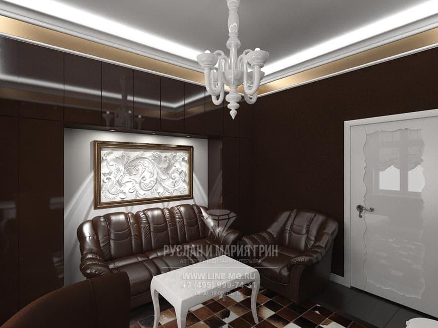 Фото интерьера кабинета в шоколадном цвете