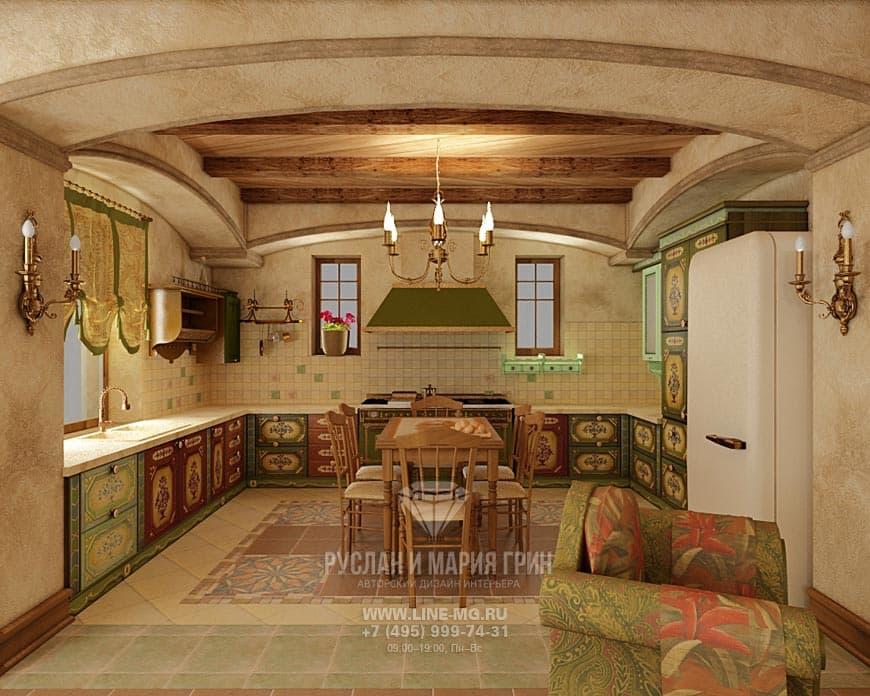 Новинка 2015 года: Фото интерьера кухни-гостиной в доме из бруса