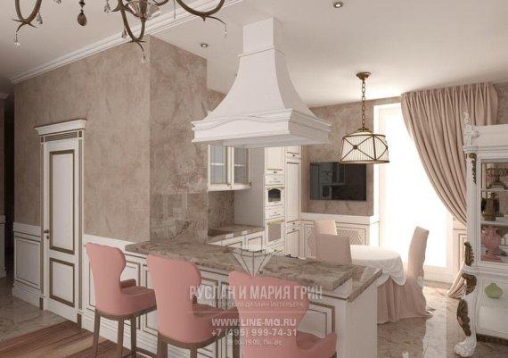 Фото интерьера гостиной-столовой в классическом стиле