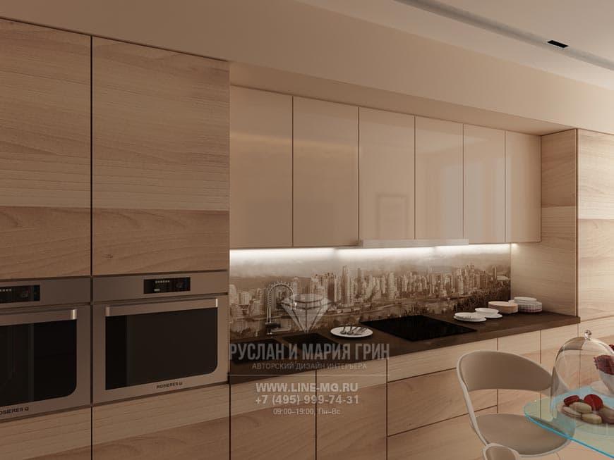 Встроенный кухонный гарнитур и фартук с изображением мегаполиса