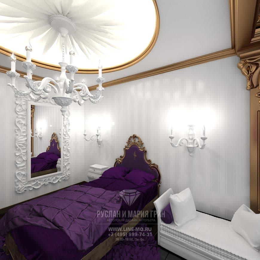 Фото интерьера детской комнаты для девочки в стиле арт-деко