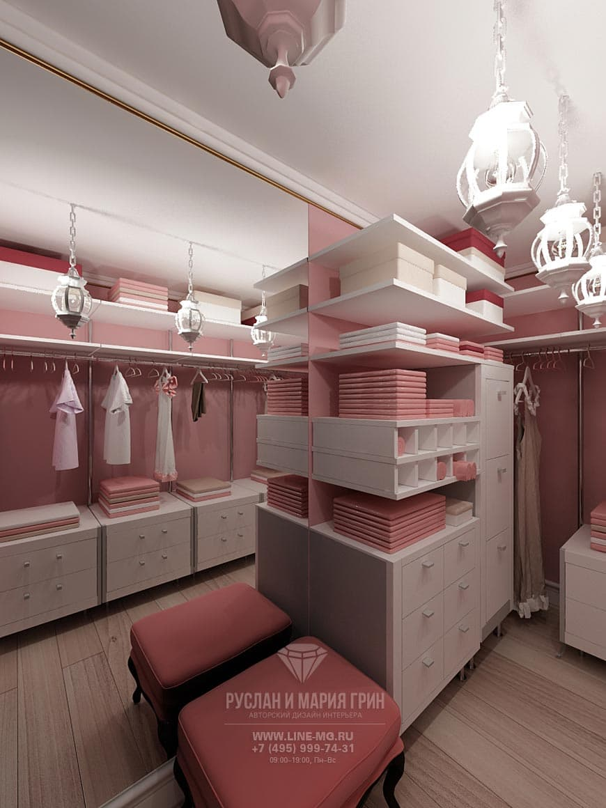 Дизайн гардербной комнаты, фото интерьера