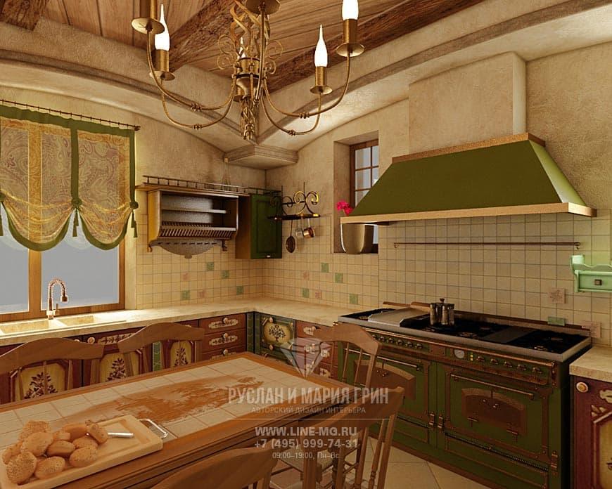 Современная идея дизайна кухни в стиле русского кантри