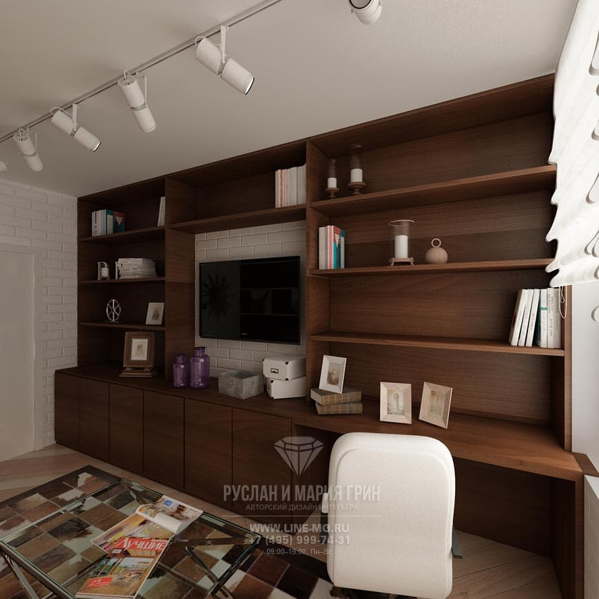 Design of cabinet in a modern apartment