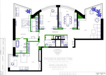 Планировка четырехкомнатной квартиры 178 м2