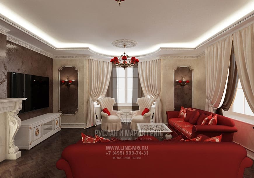 The design of the living room in the house