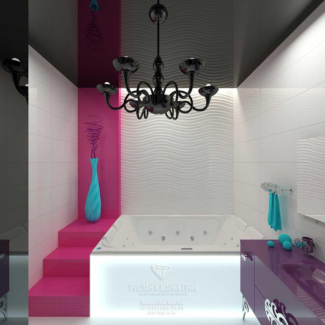 Фото интерьера детской ванной комнаты