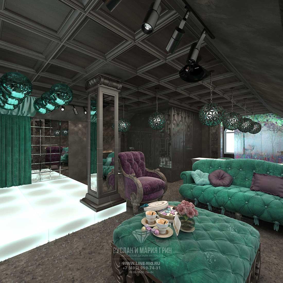Дизайн мансарды в частном доме. Диванная зона