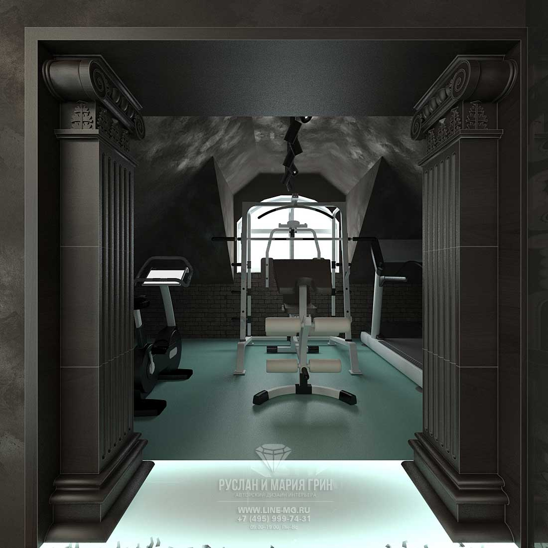 The design of the gym in the attic of a private house