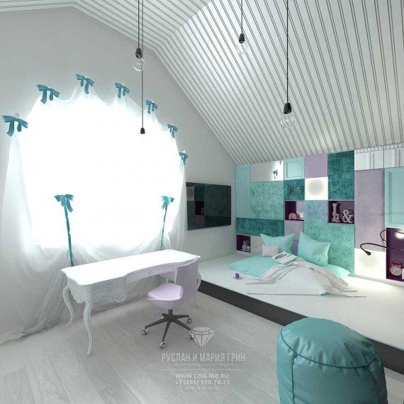 Дизайн детской комнаты для девочки в бирюзовых и сиреневых тонах