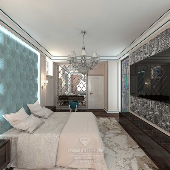 Современные идеи дизайна бирюзовой спальни в стиле арт-деко. Фото 2015