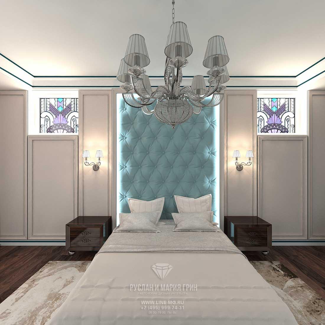 Современная идея дизайн спальни в стиле арт-деко в доме с мансардой
