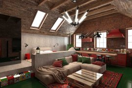 Loft-style attic with a gable roof design