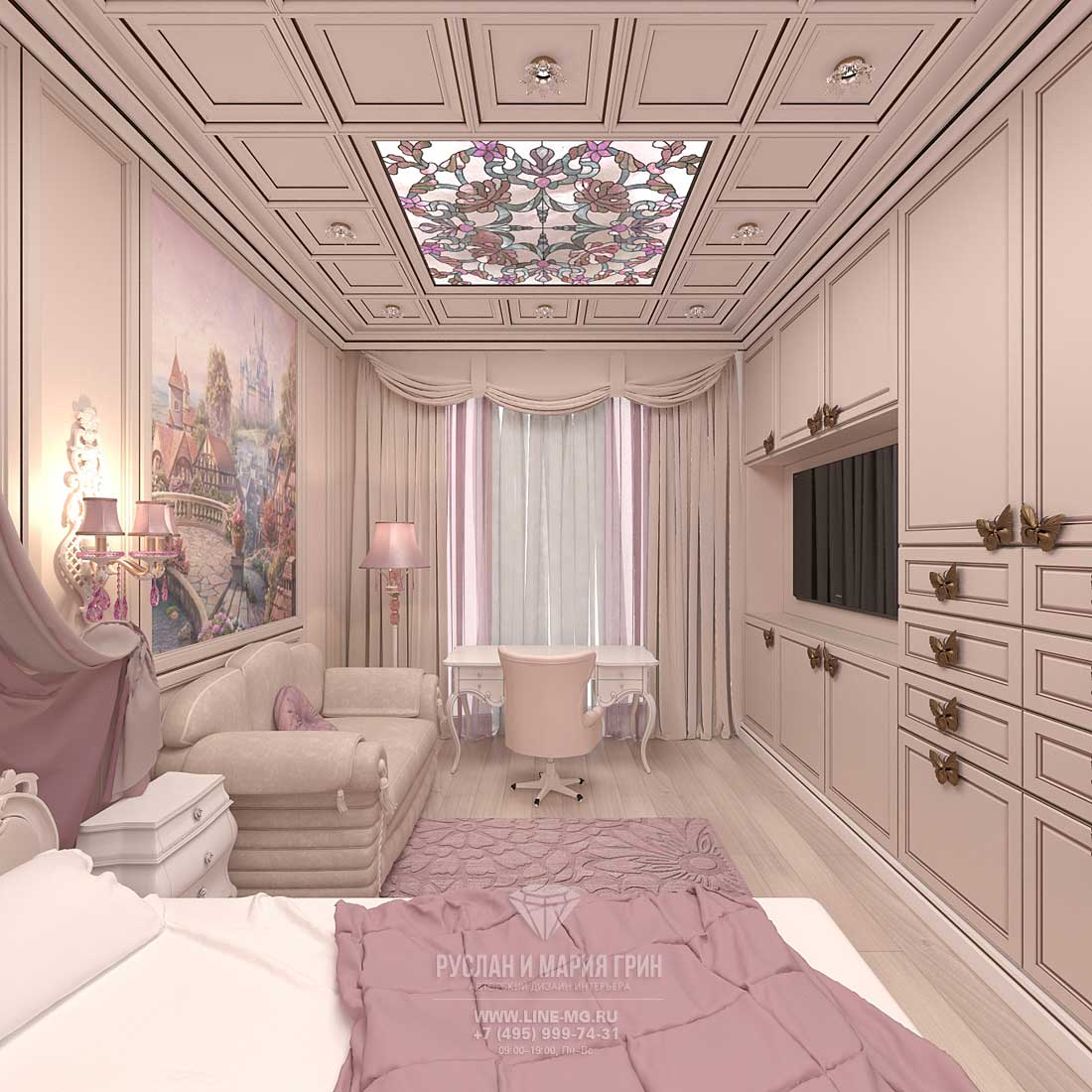 Interior design for a 4-year-old girl. Apartment in Skolkovo Park
