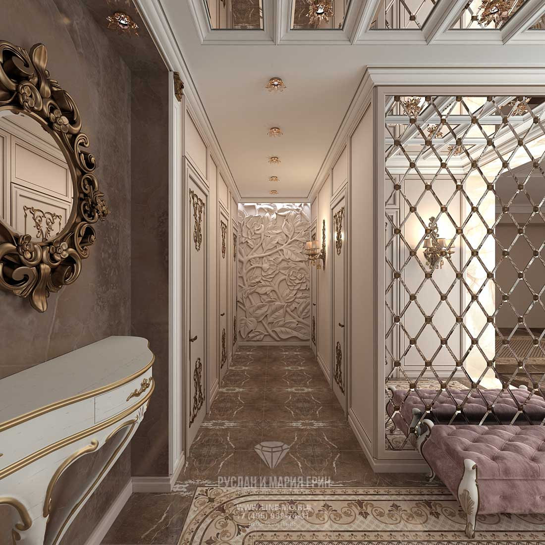 Art Nouveau hallway in an apartment in the residential complex The park Skolkovo