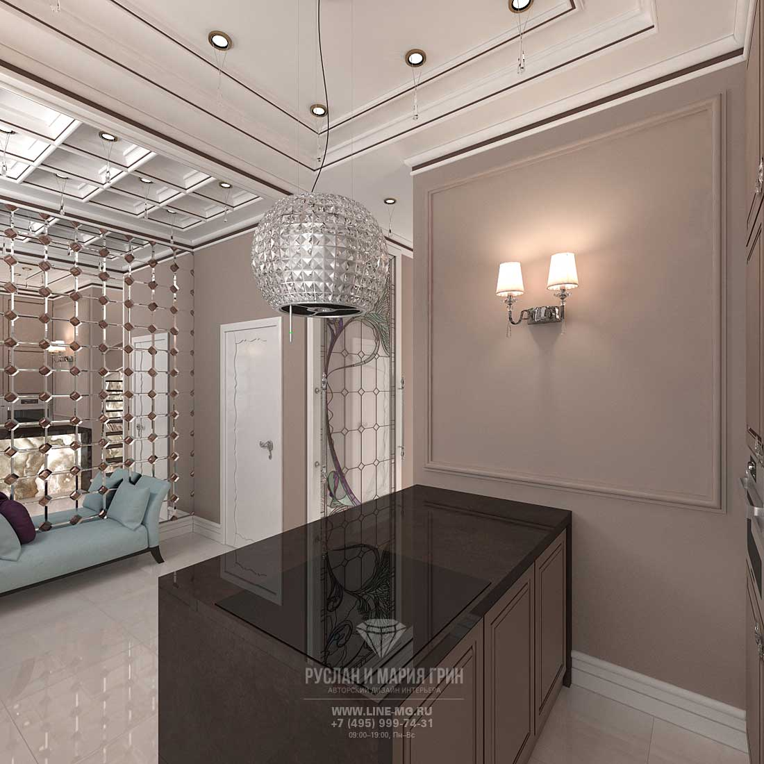 The idea of kitchen-hallway design in a townhouse