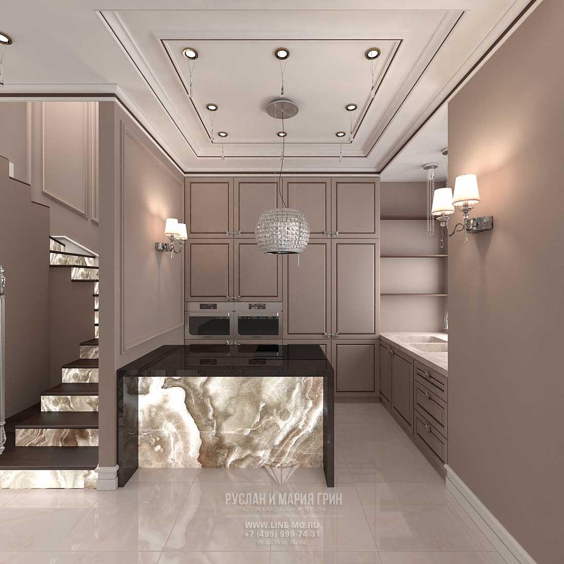 Идея дизайна кухни-прихожей в таунхаусе