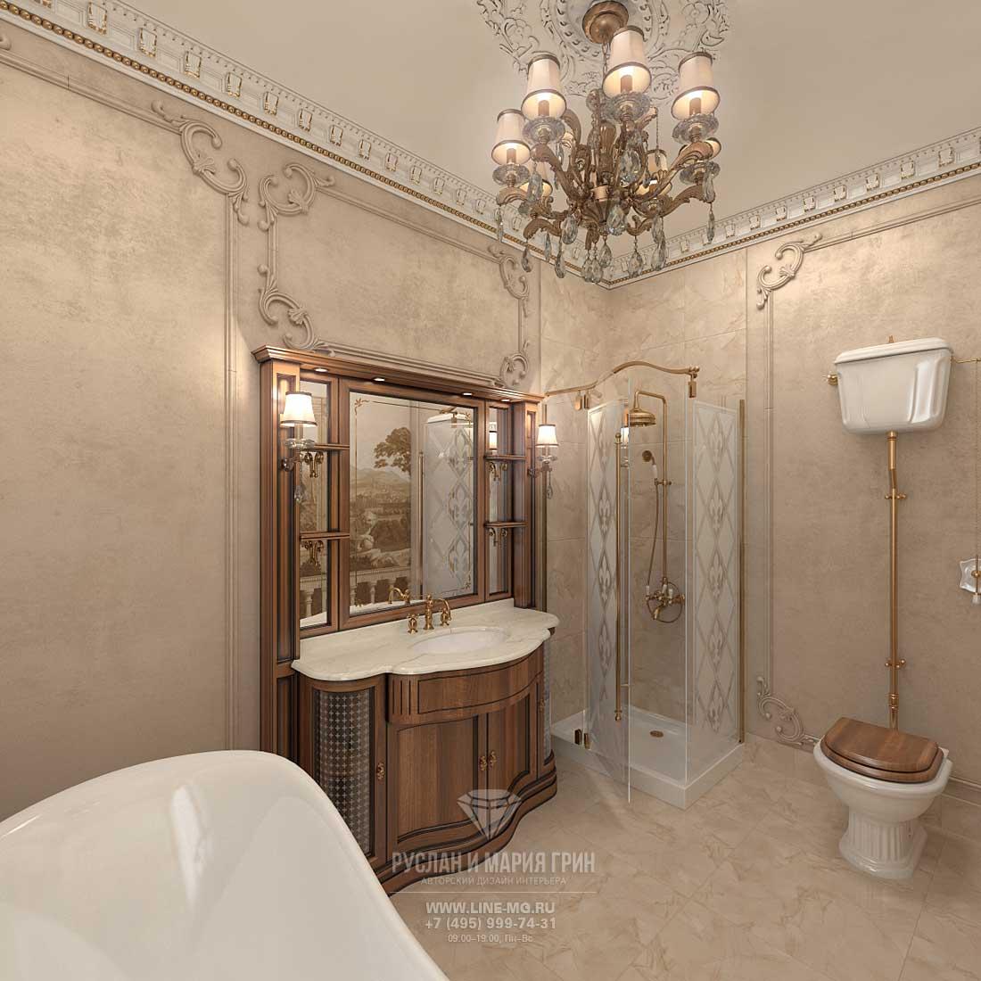 Фото дизайна ванны в золотых тонах 962
