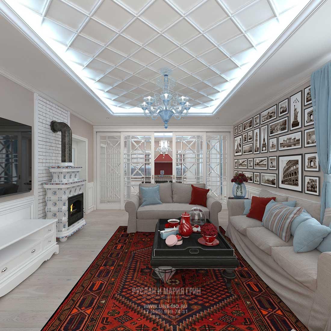 Фото интерьера гостиной с камином