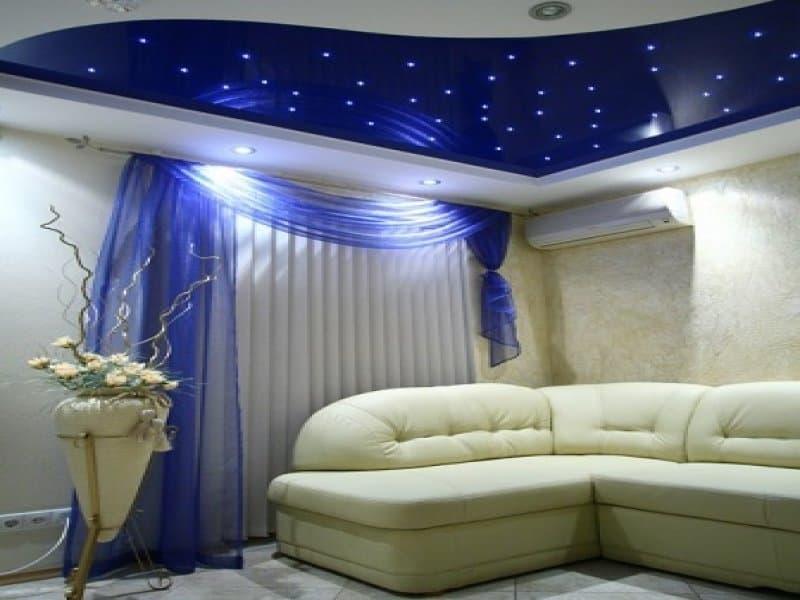 Оформление потолка: звездное небо
