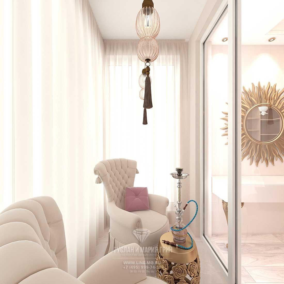 Дизайн балкона с кальяном: фото