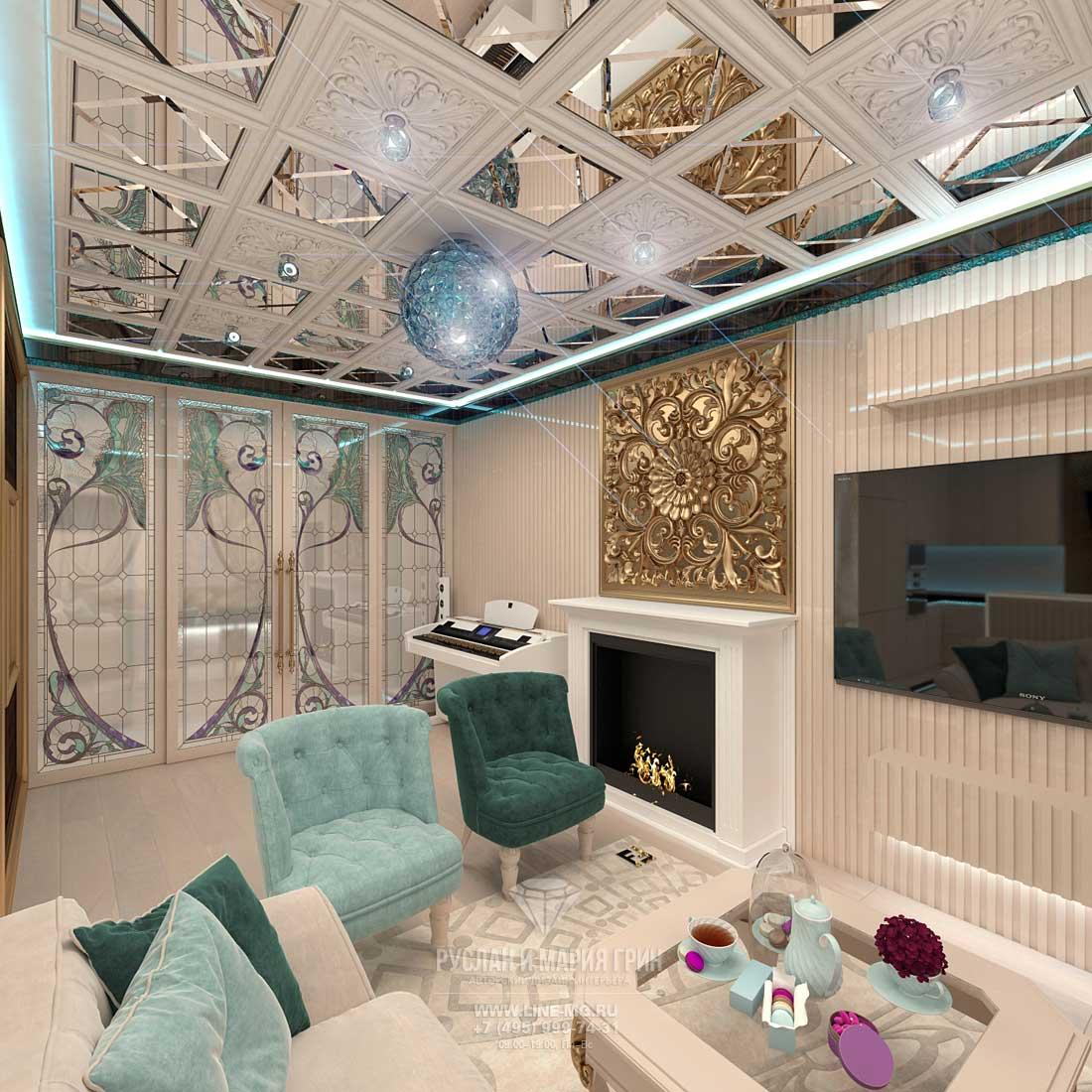 Дизайн светлой гостиной комнаты с камином