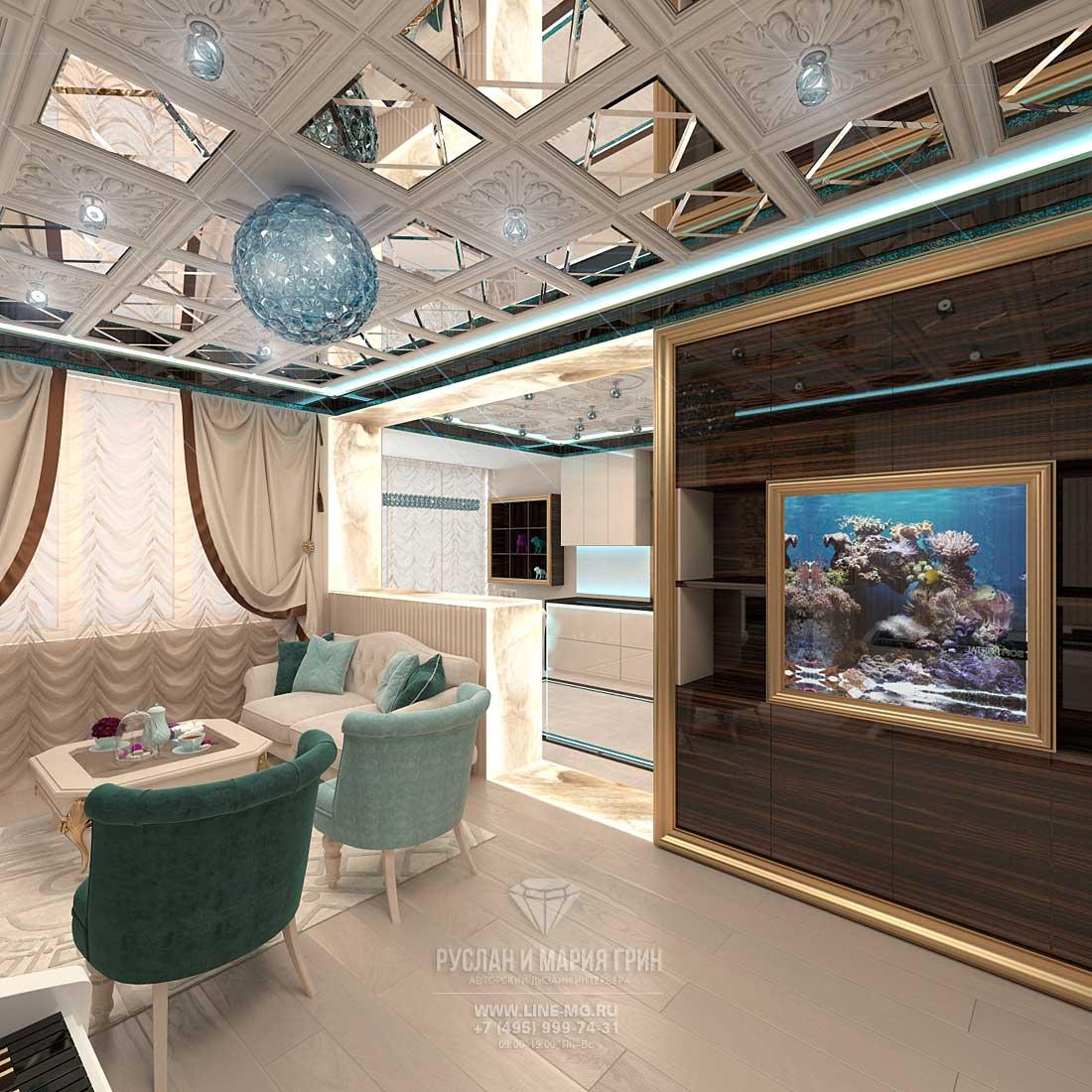 Дизайн гостиной комнаты с аквариумом