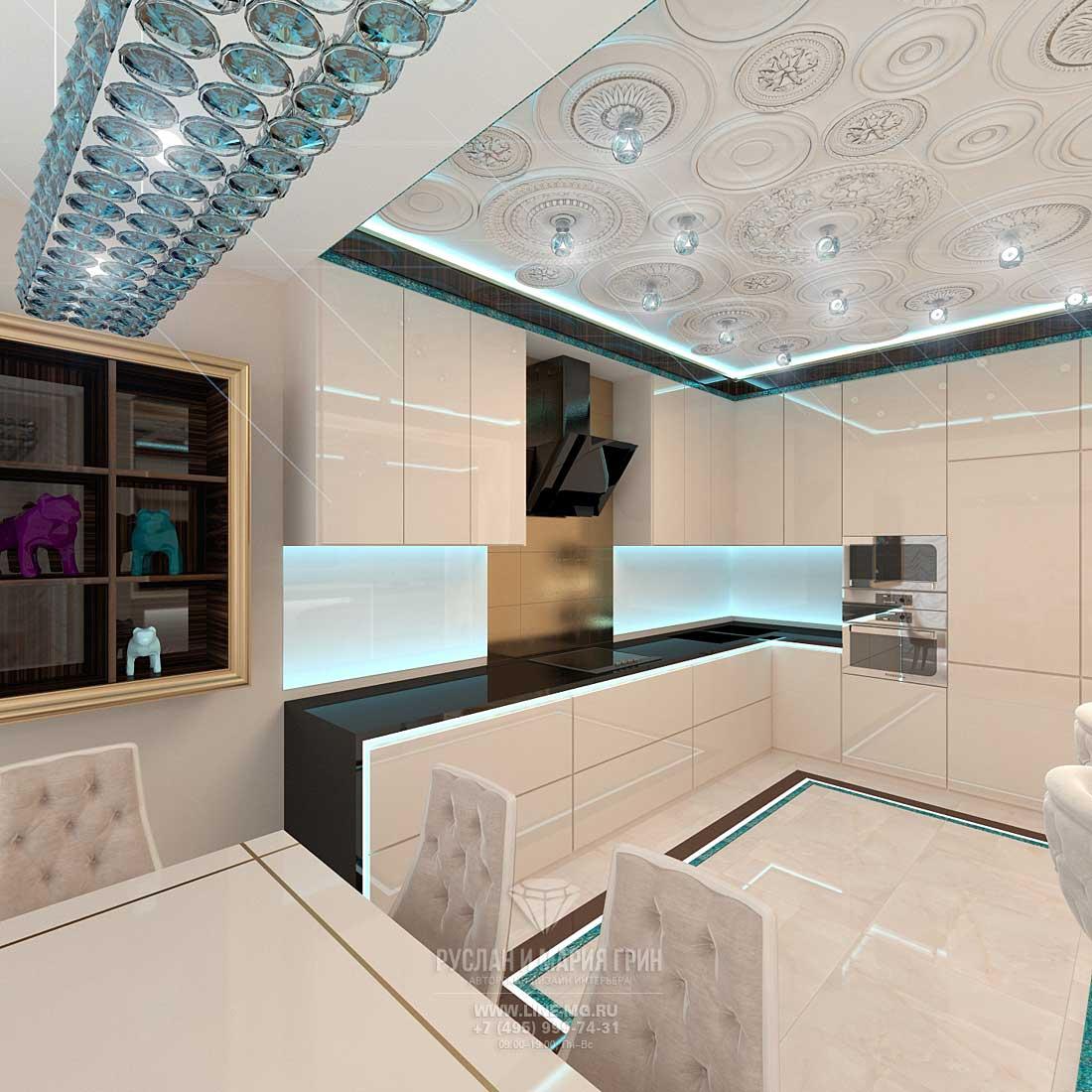 Дизайн интерьера гостиной с кухней