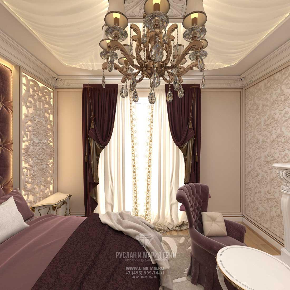 Дизайн бордовой спальни в загородном доме. Фото 2016