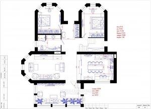 Планировка дома 8 на 8 (двухэтажный). 1-й этаж