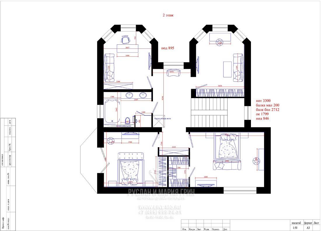 Планировка дома 8 на 8 (двухэтажный). 2-й этаж