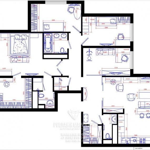 Планировка пятикомнатной квартиры в Москве: фото