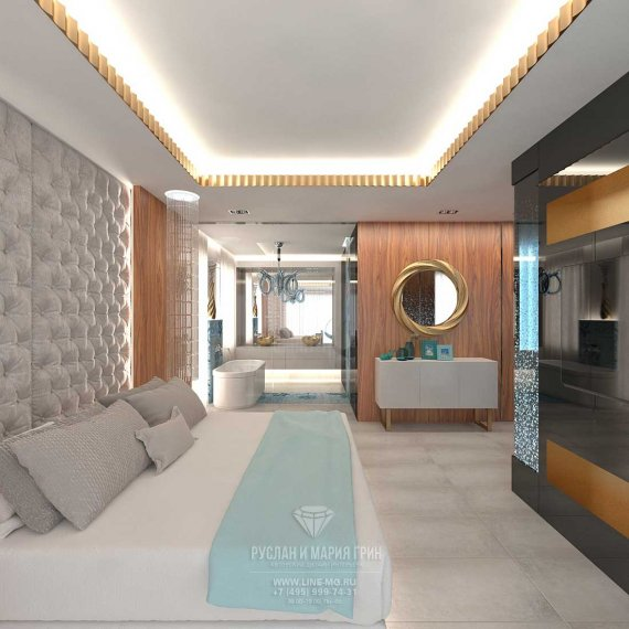 Дизайн спальни с кабинетом в современном стиле: фото