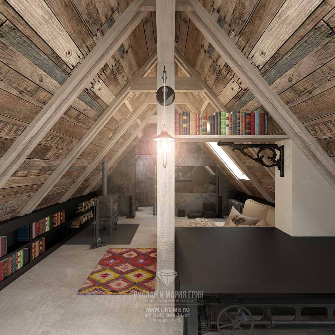 Английский стиль в интерьере мансарды загородного дома. Фото спальни-кабинета