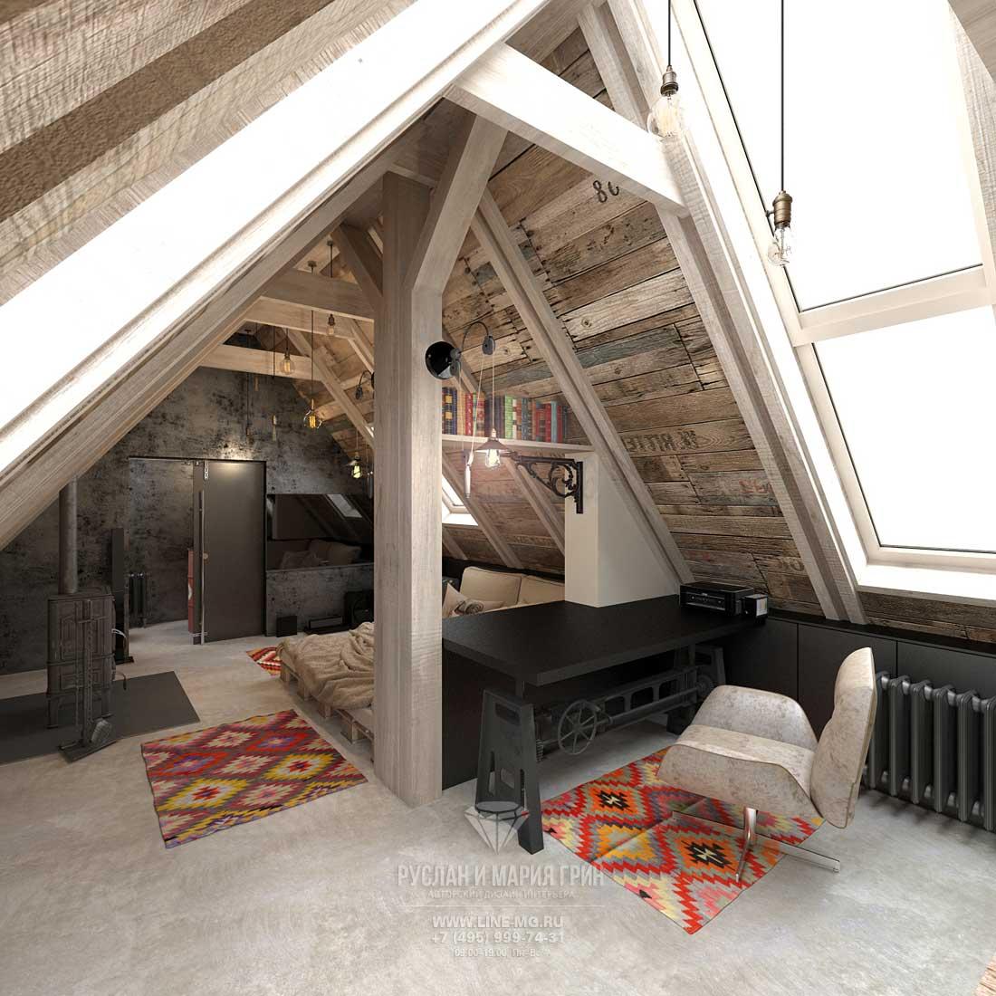 Английский стиль в интерьере загородного дома. Фото спальни в мансарде