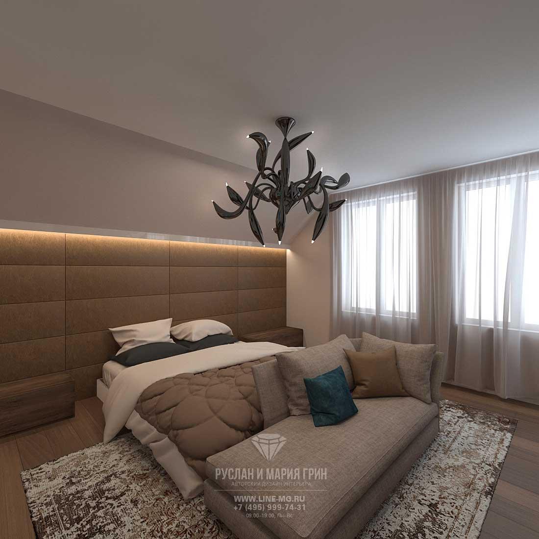 Дизайн спальни в загородном доме в стиле лофт