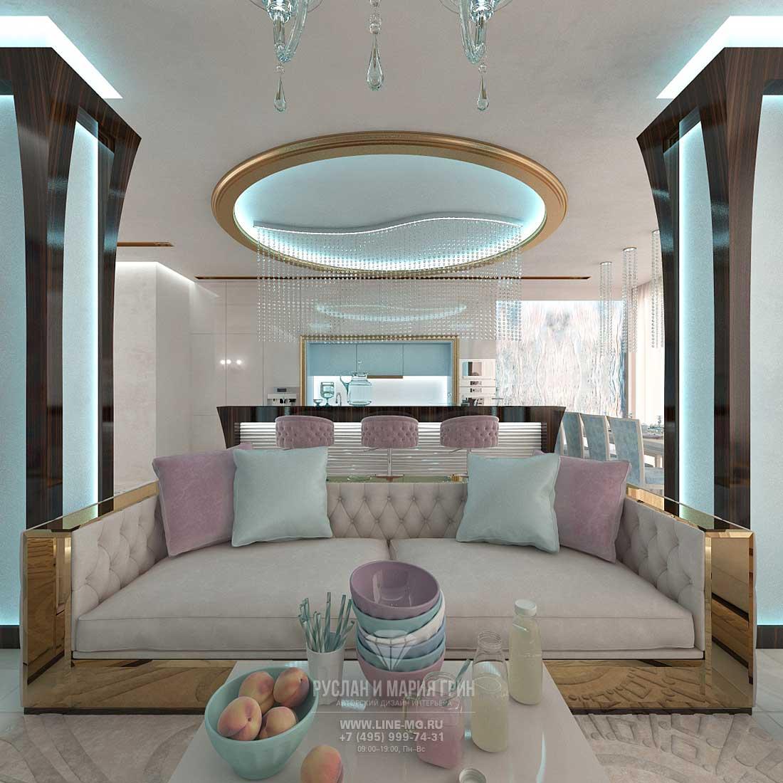 Дизайнерский ремонт гостиной под ключ в стиле ар-деко. Фото интерьера