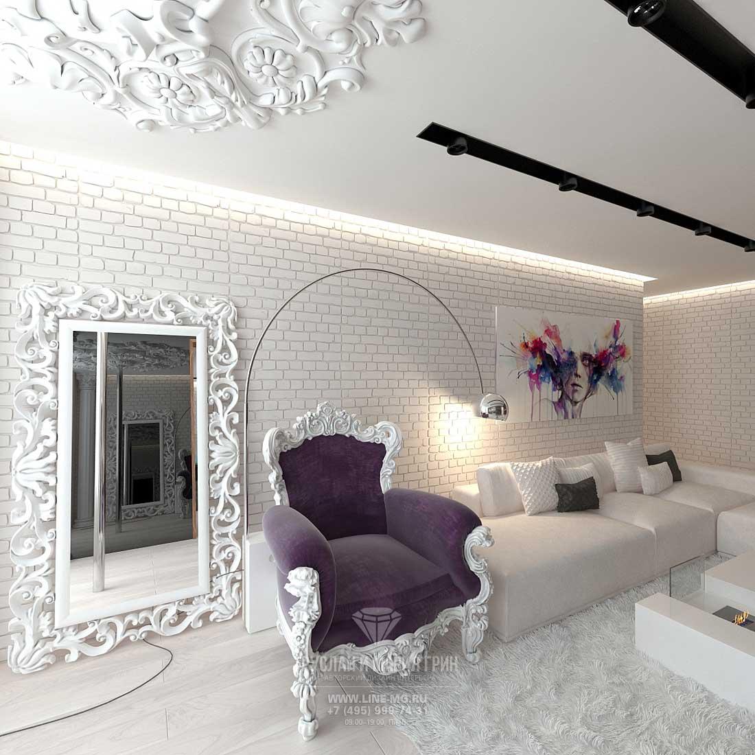 Дизайнерский ремонт квартиры под ключ в современном стиле. Фото интерьера