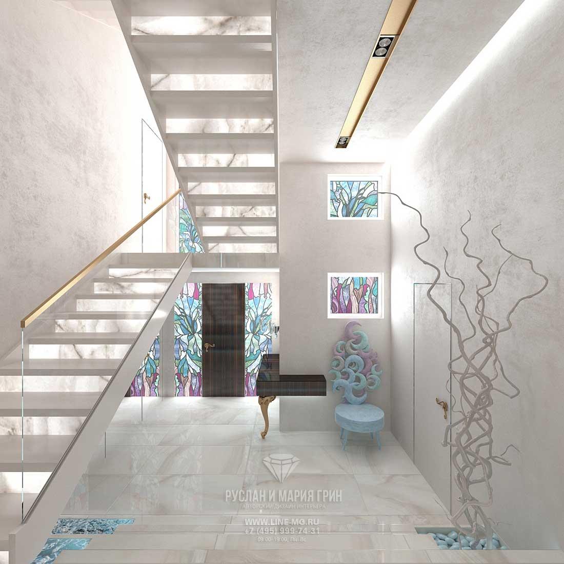 Дизайн лестничного холла в доме