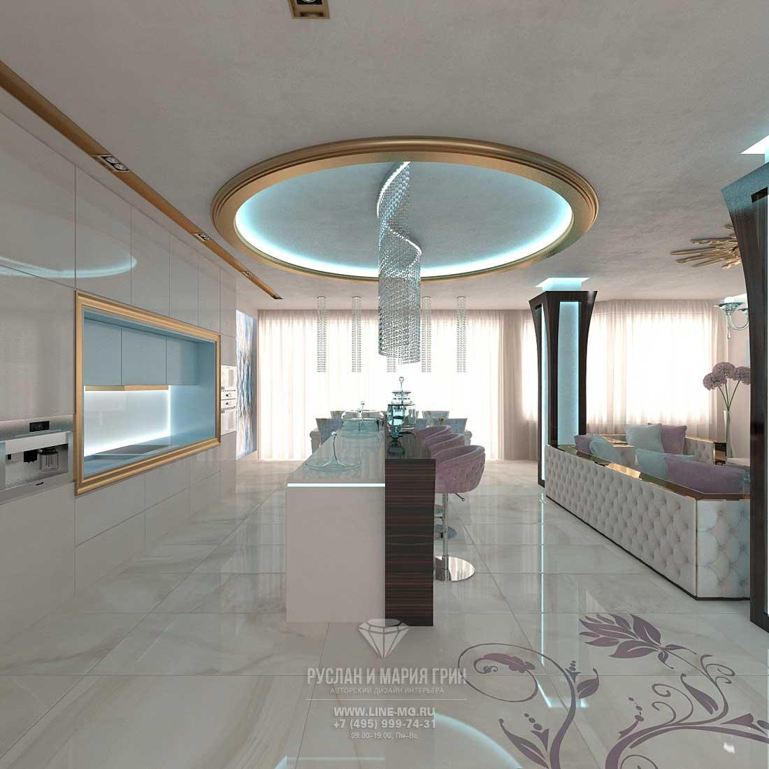 Дизайн кухни-столовой-гостиной в доме