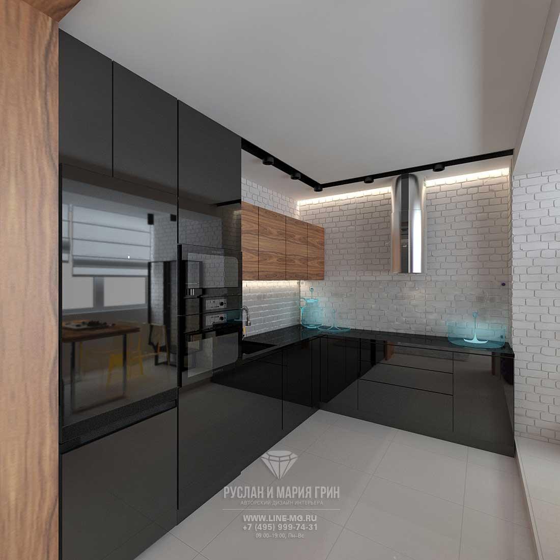 Дизайн кухни в черно-белый глянец