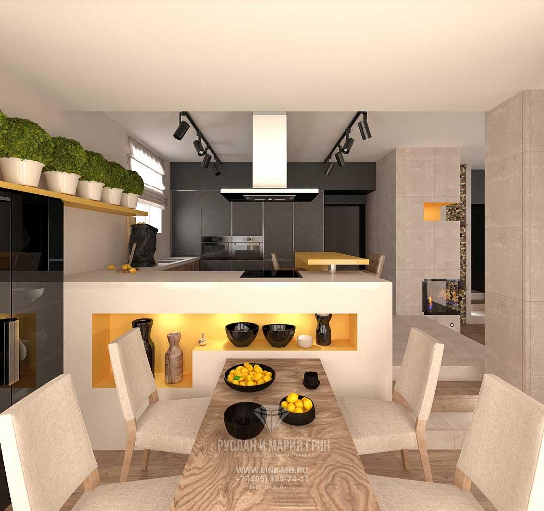 Дизайн кухни-гостиной в доме в стиле лофт