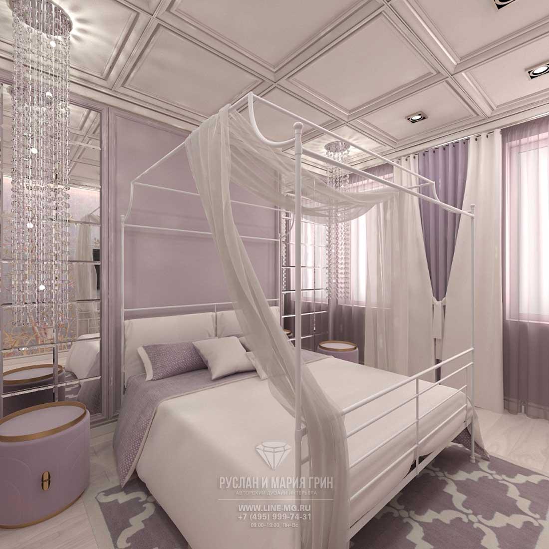 Дизайн сиреневой спальни в квартире