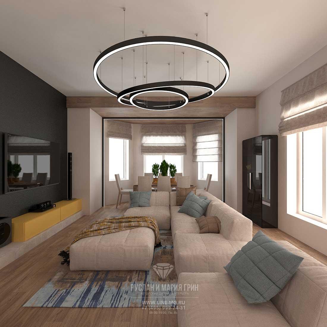 Дизайнерский ремонт квартиры под ключ в стиле лофт. Фото интерьера