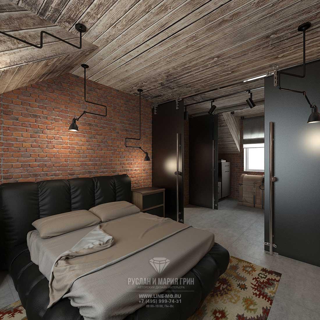 Дизайнерский ремонт спальни под ключ в стиле лофт. Фото интерьера