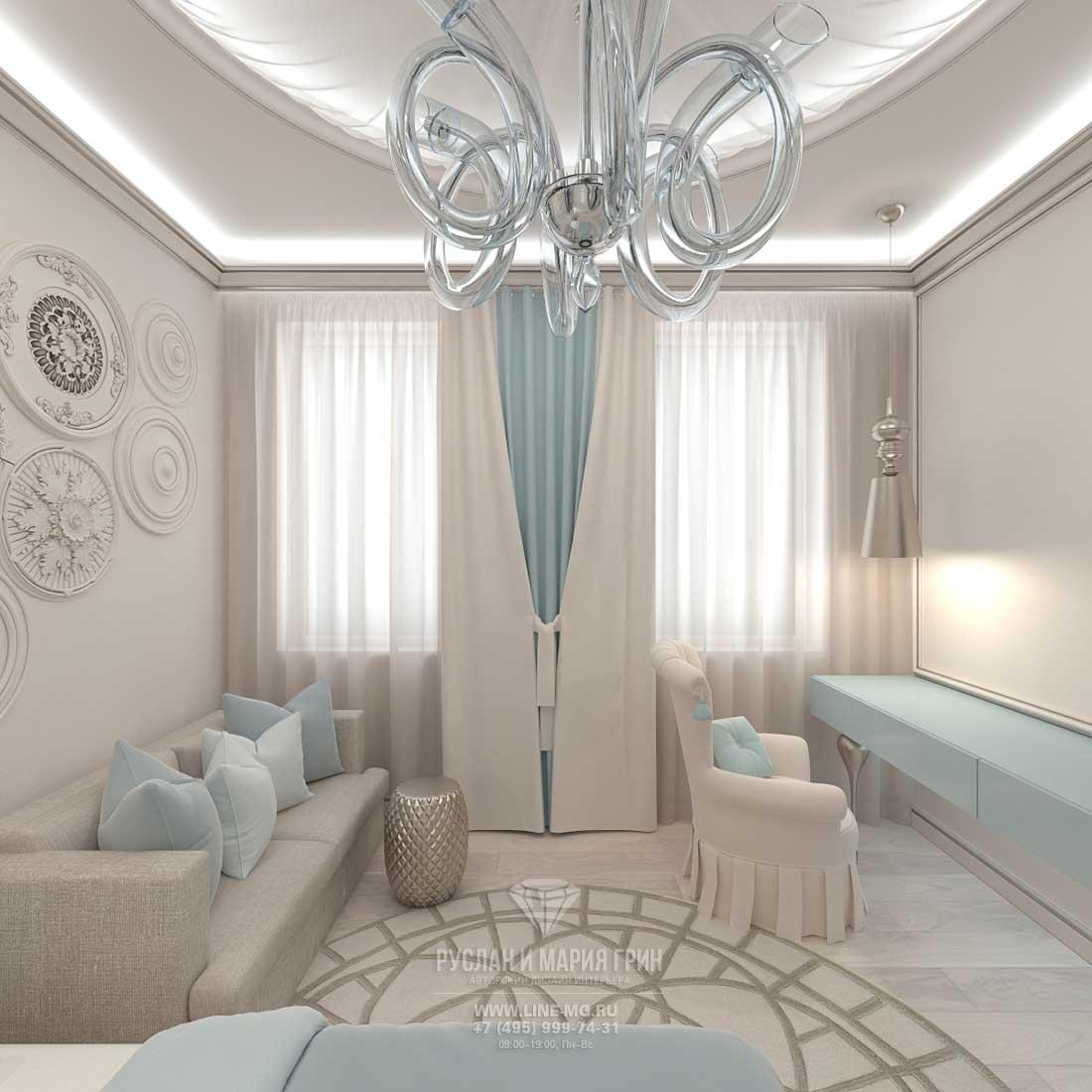 Дизайнерский ремонт комнаты под ключ в стиле легкая классика. Фото интерьера