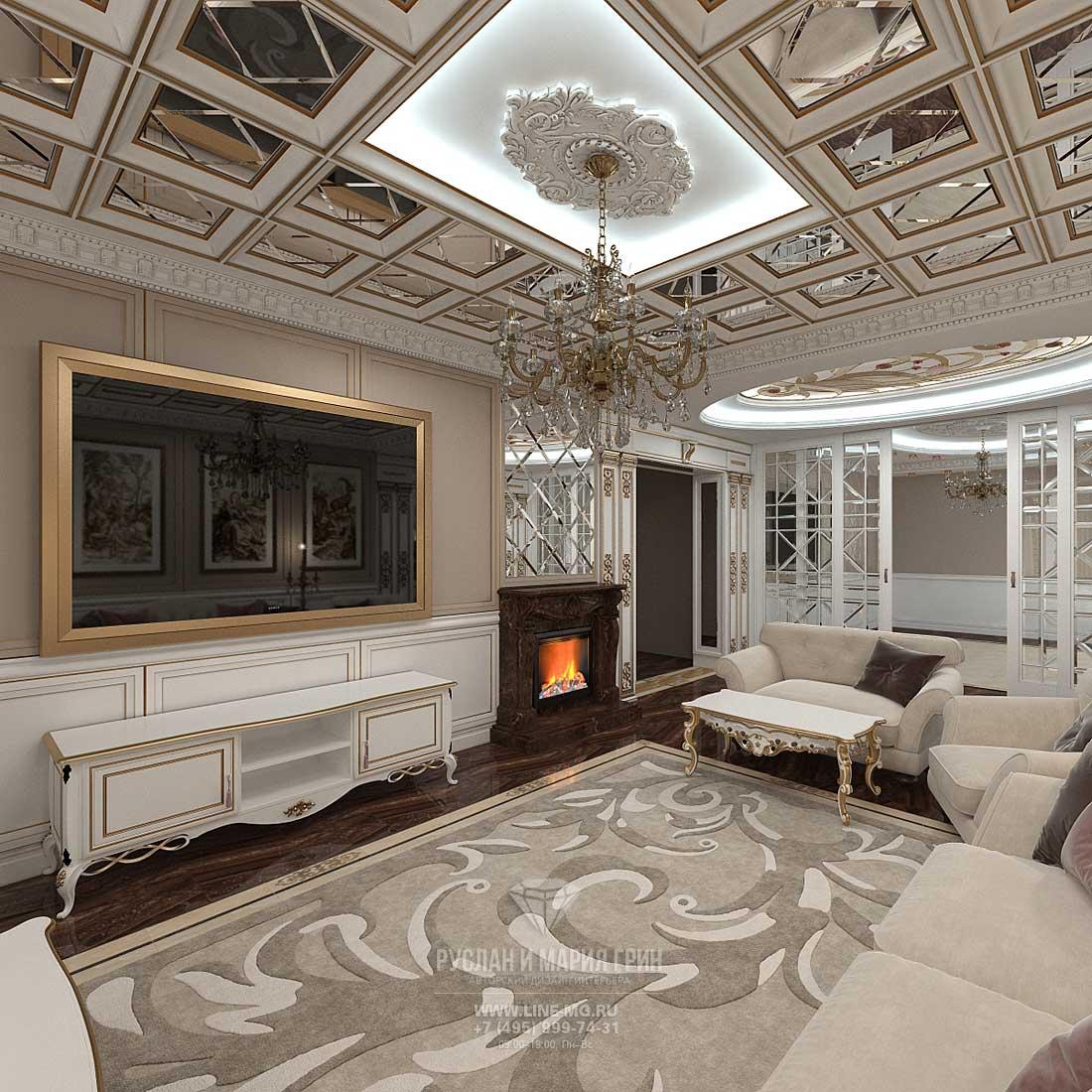 Дизайн классической гостиной в доме