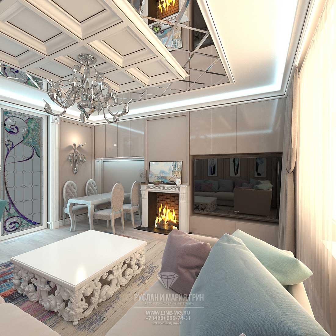 Дизайн светлой гостиной в таунхаусе